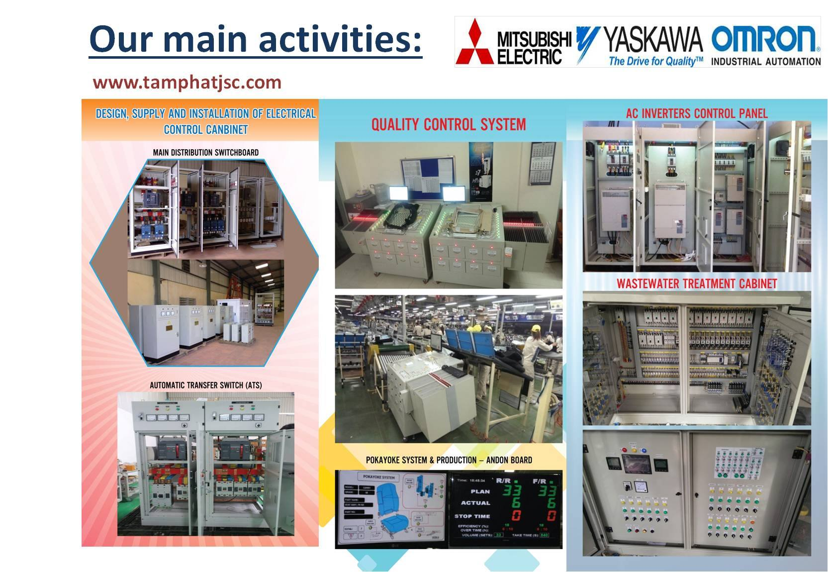 1. Automation Solutions.  / 2- Control panel building 3- PC, PLC-HMI software developments 4- Authorized distributor of Automationproducts: Omron - Mitsubishi electric - Yaskawa
